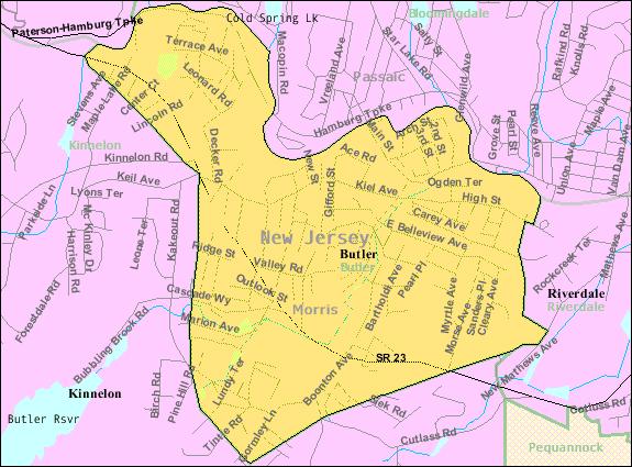 Census Bureau Map Of Butler Nj